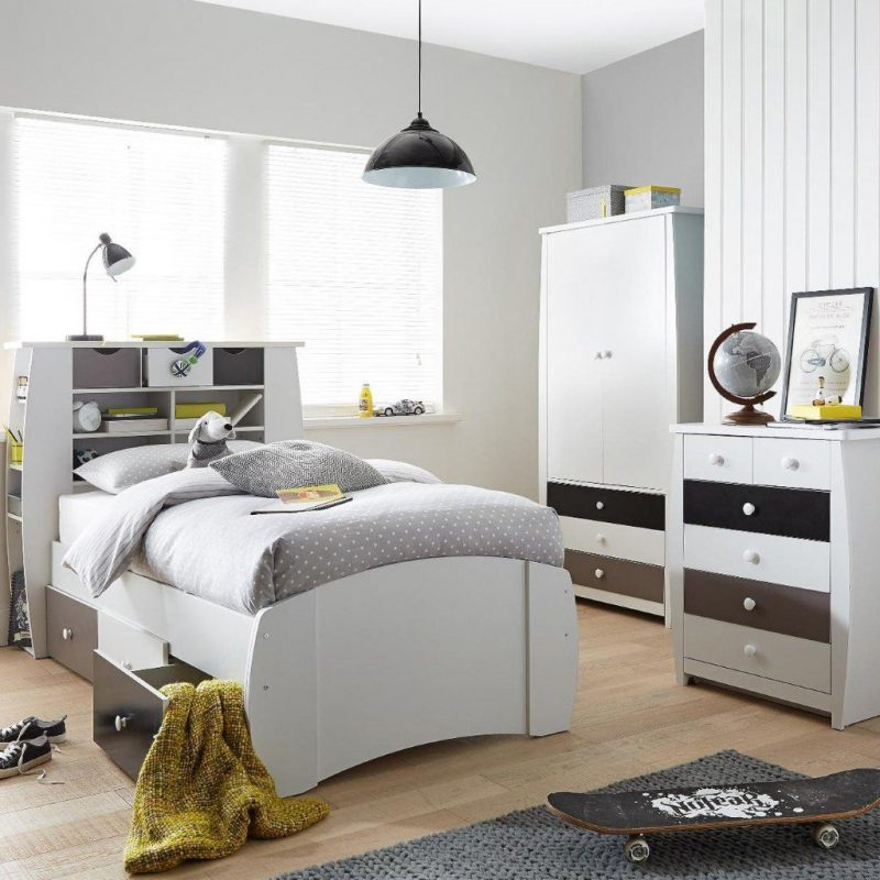 Kid's bedroom furniture with grey and black drawers