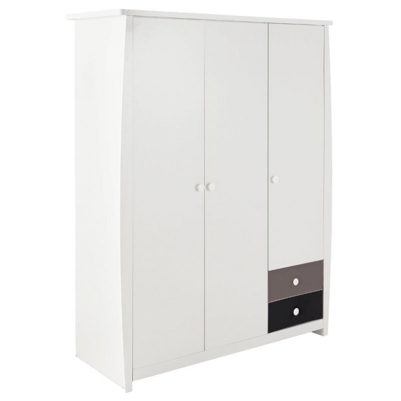 Kid's 3 door wardrobe with 2 small drawers