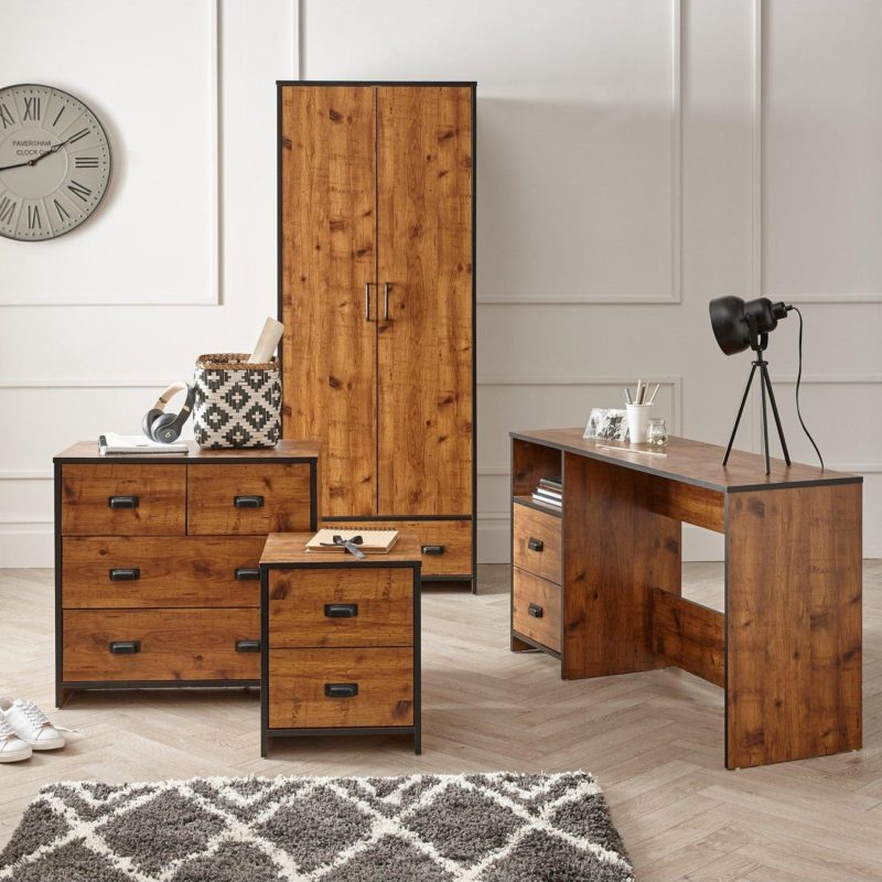 Pine effect wardrobe, desk, drawer chest and bedside unit