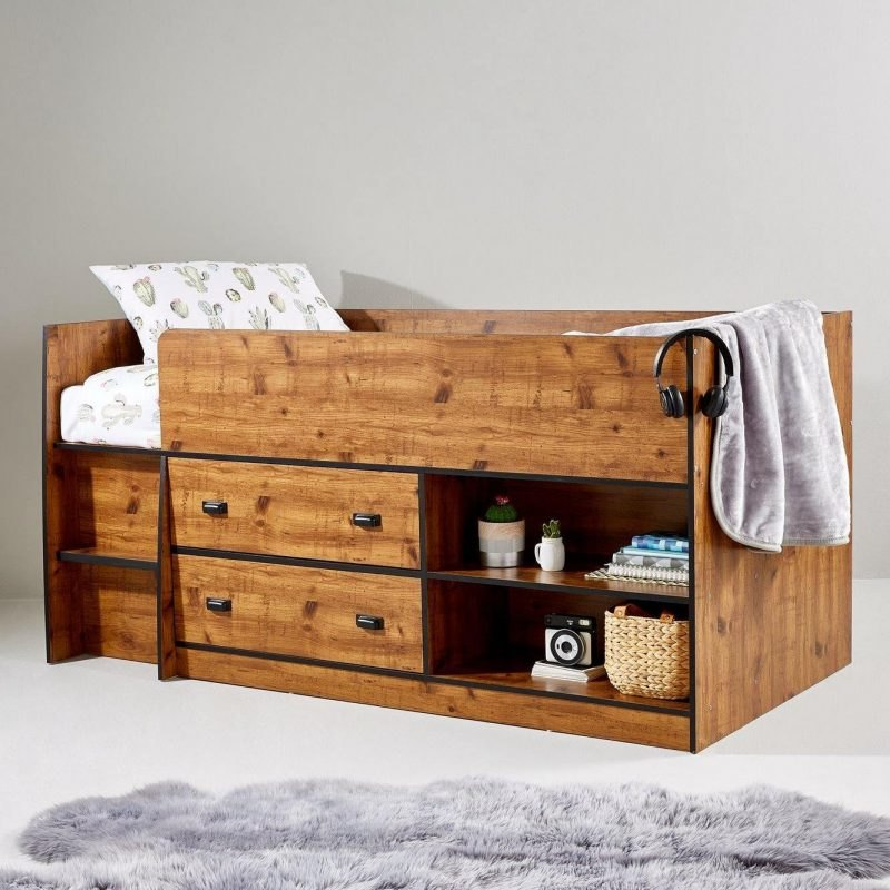 Kid's cabin bed with rustic pine finish