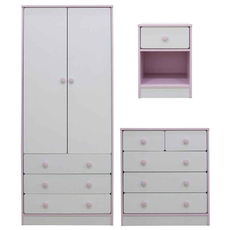 White bedroom furniture with pink trim