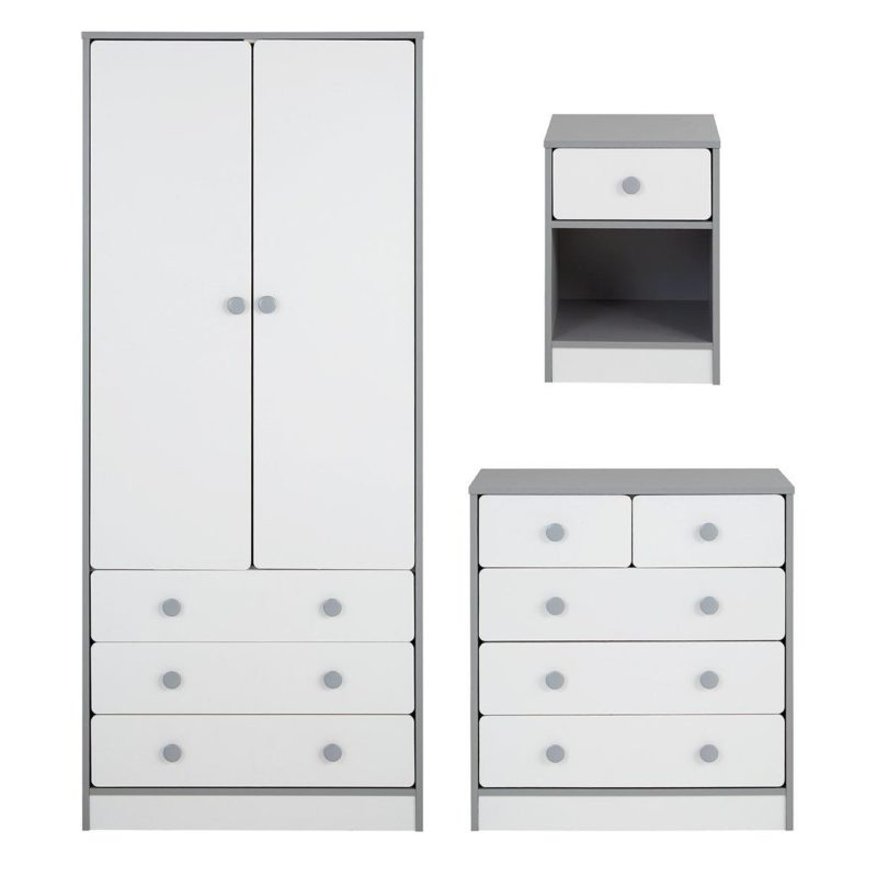 White bedroom furniture with grey trim