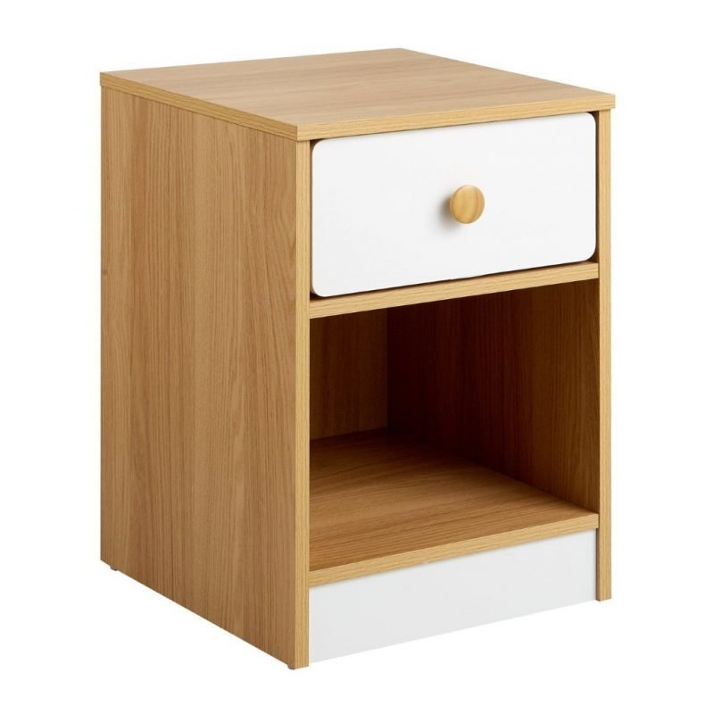 Oak and white bedside cabinet