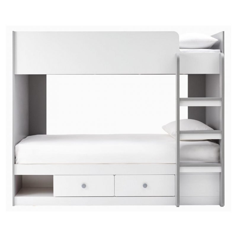 Grey and white bunk bed