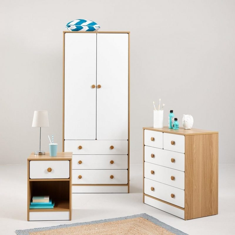 Kid's bedroom furniture with oak effect frames and white doors