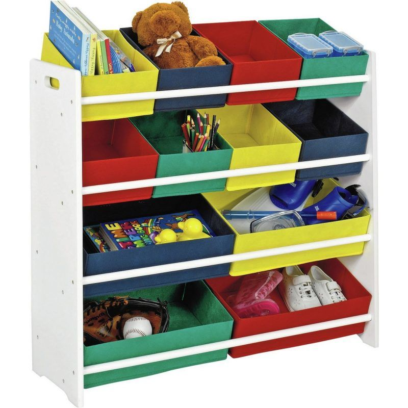 4 tier storage unit with bold colour bins