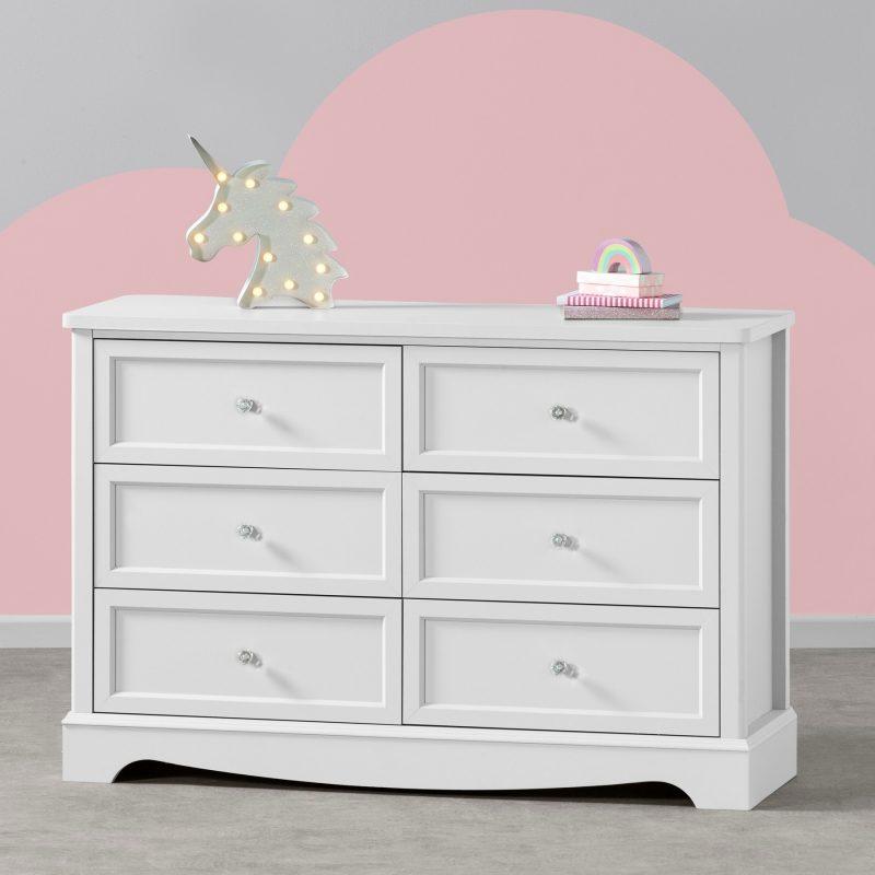 White 6-drawer chest