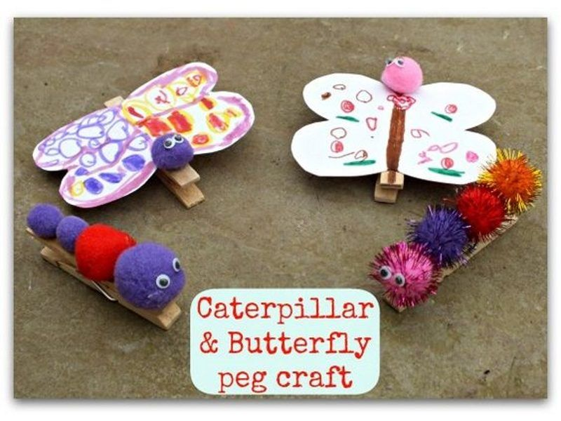 Household pegs made into butterflies and caterpillars