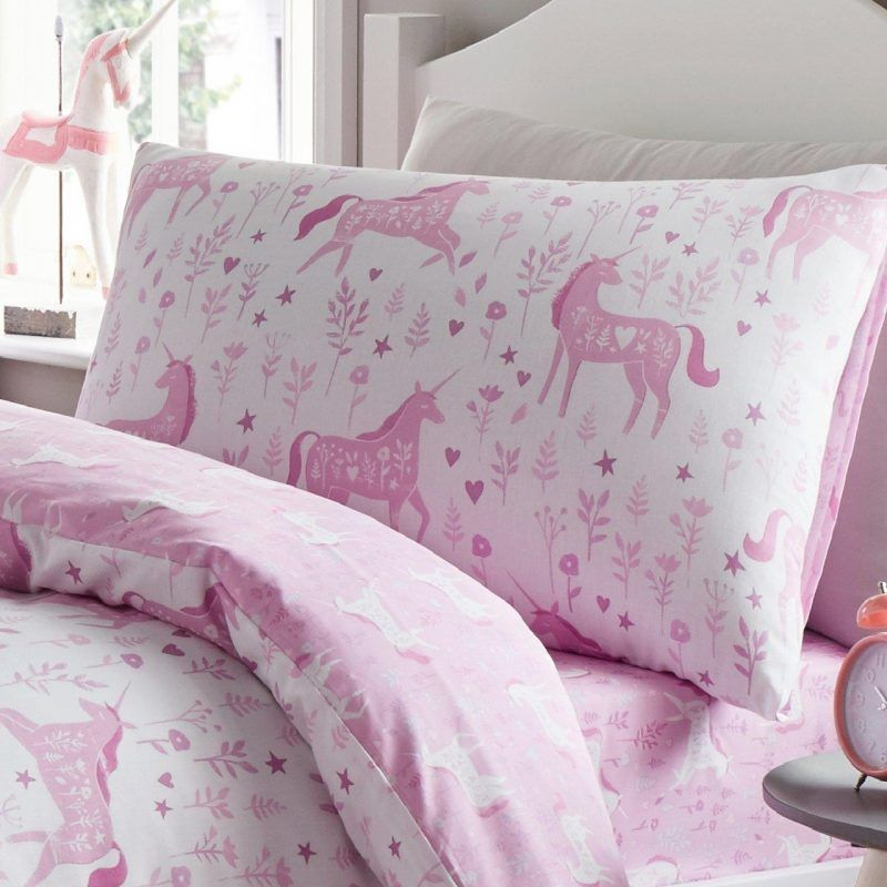 Pink unicorns bedding set