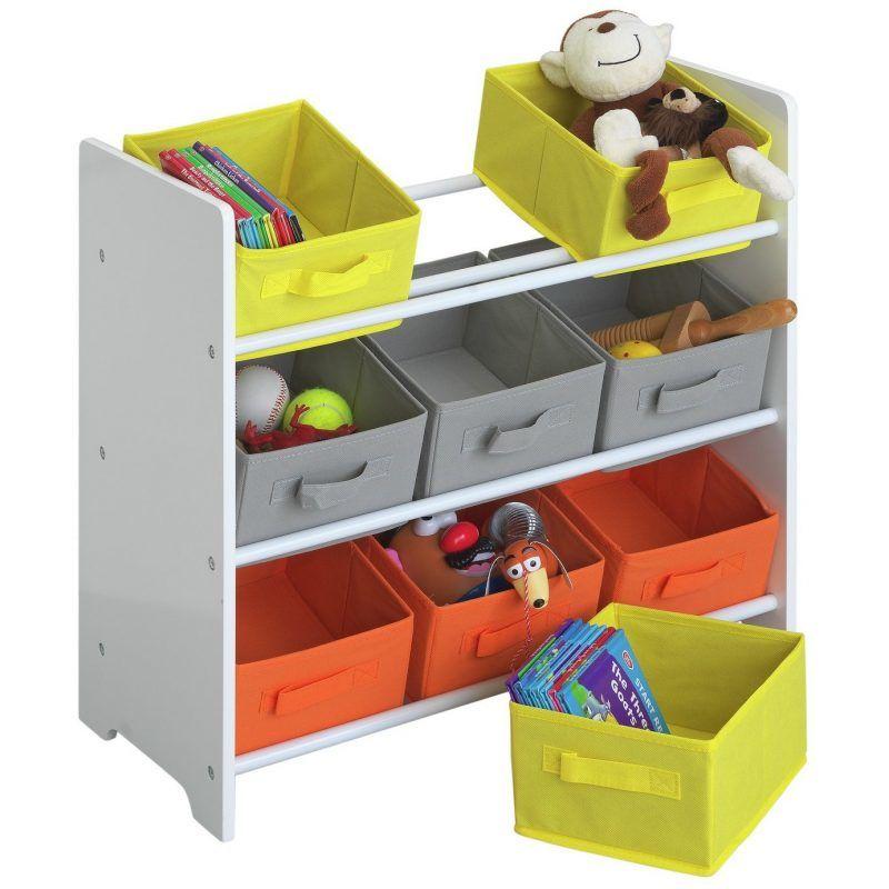 3 tier storage unit with grey, orange and yellow bins