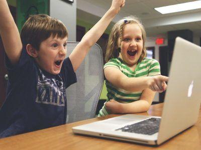 Kids using a laptop