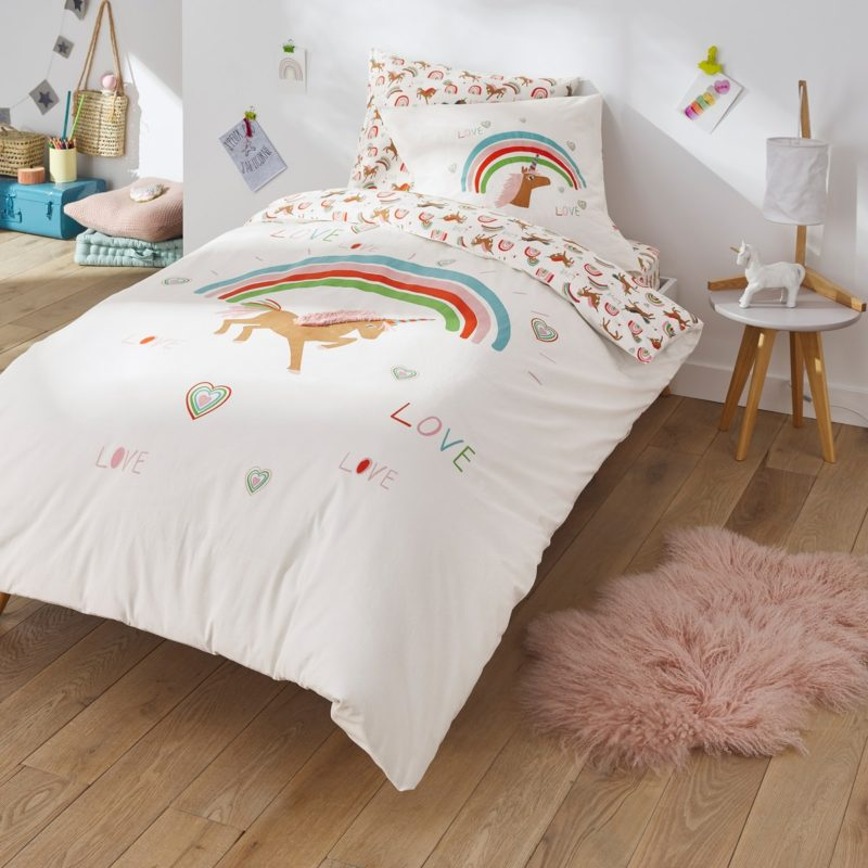 Unicorn print bedding set