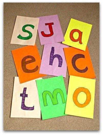 Painted letters on coloured card