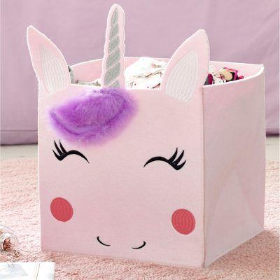 Pink unicorn themed storage cube