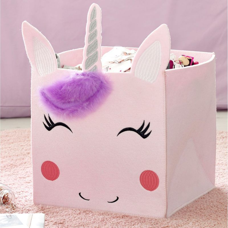 Pink unicorn themed storage cube