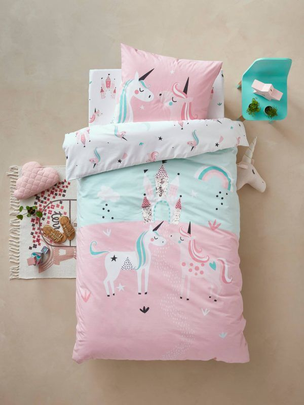 Pink & blue unicorn theme bedding set