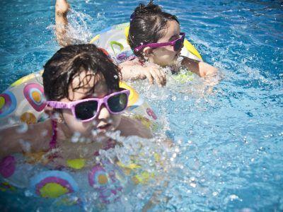 Kids in the pool wearing sunglasses