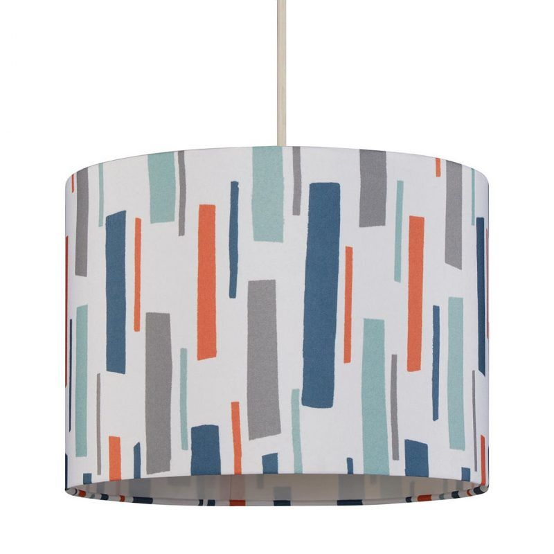 Lamp Shade with coloured bar print pattern