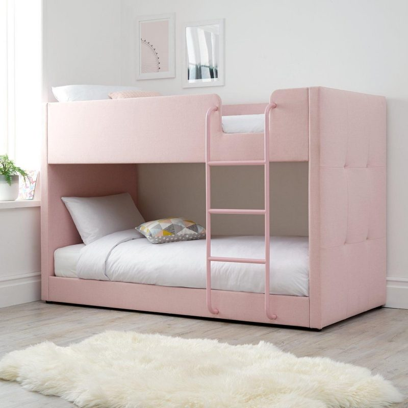 Pink fabric upholstered bunk bed with pink ladder