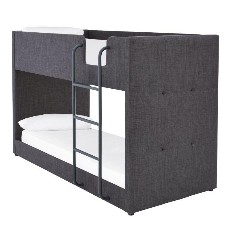Grey fabric bunk bed with mattresses