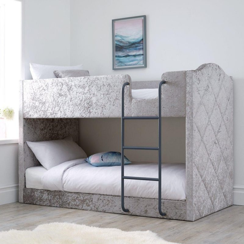 Fabric upholstered bed with black ladder