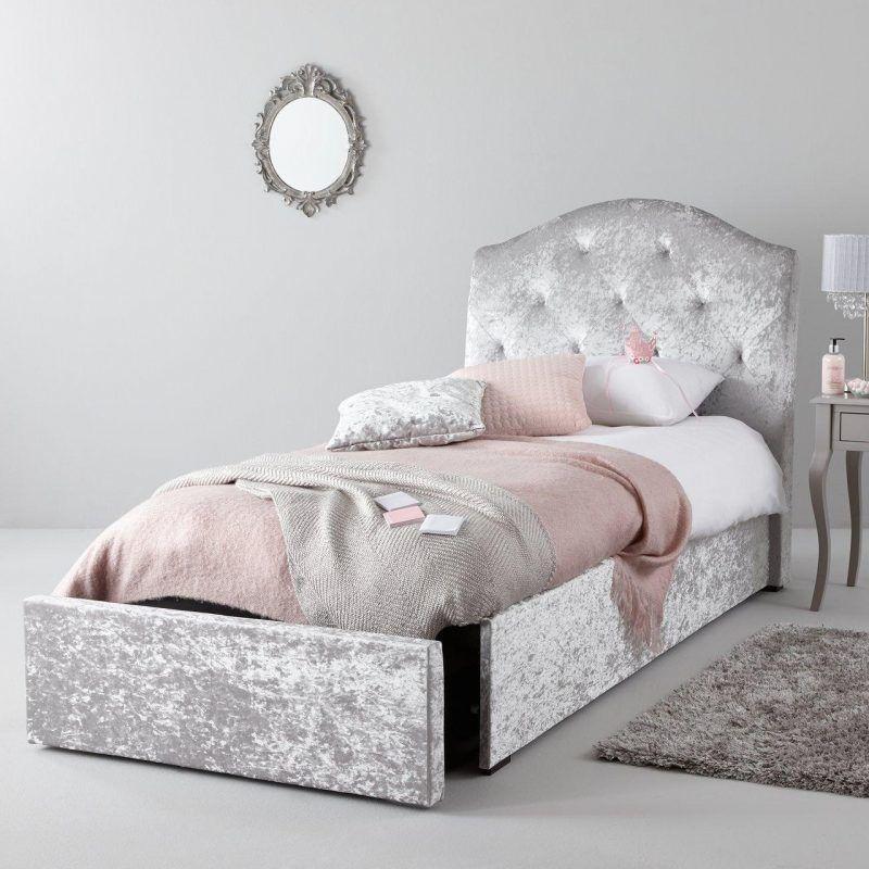 Single bed upholstered in silver crushed velvet