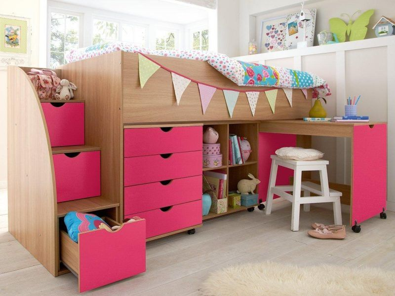 Kids mid-sleeper with pink drawers