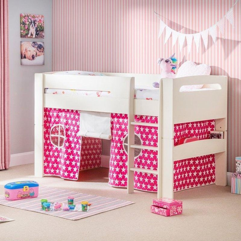 Kid's mid-sleeper bed with pink and white play tent