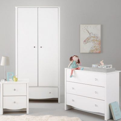 Kid's wardrobe drawer chest and bedside table with white finish and crystal handles
