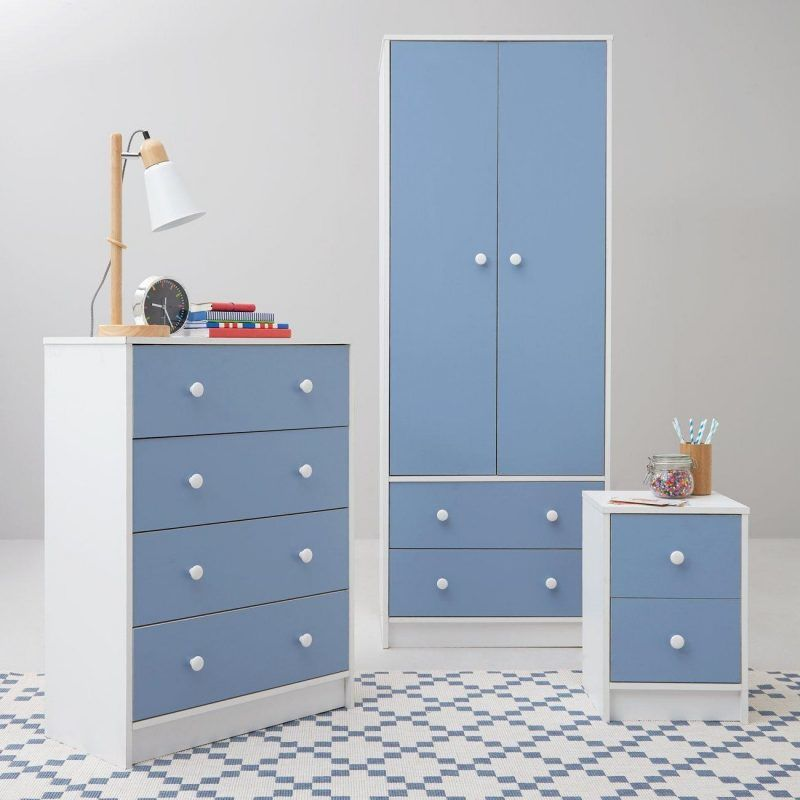 White/blue bedroom furniture package