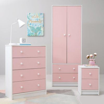 White/pink bedroom furniture package