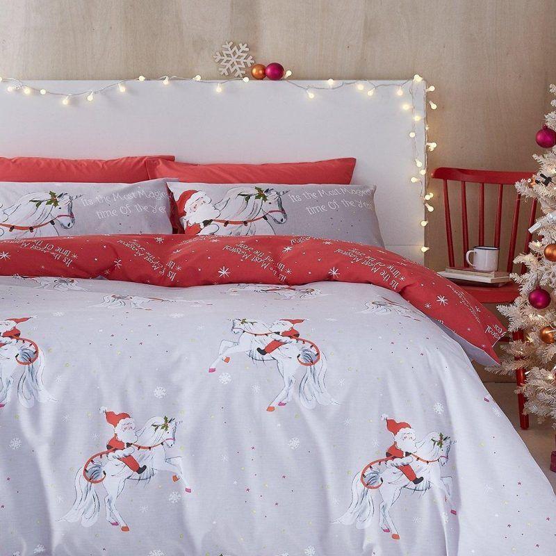Christmas unicorn themed bedding set