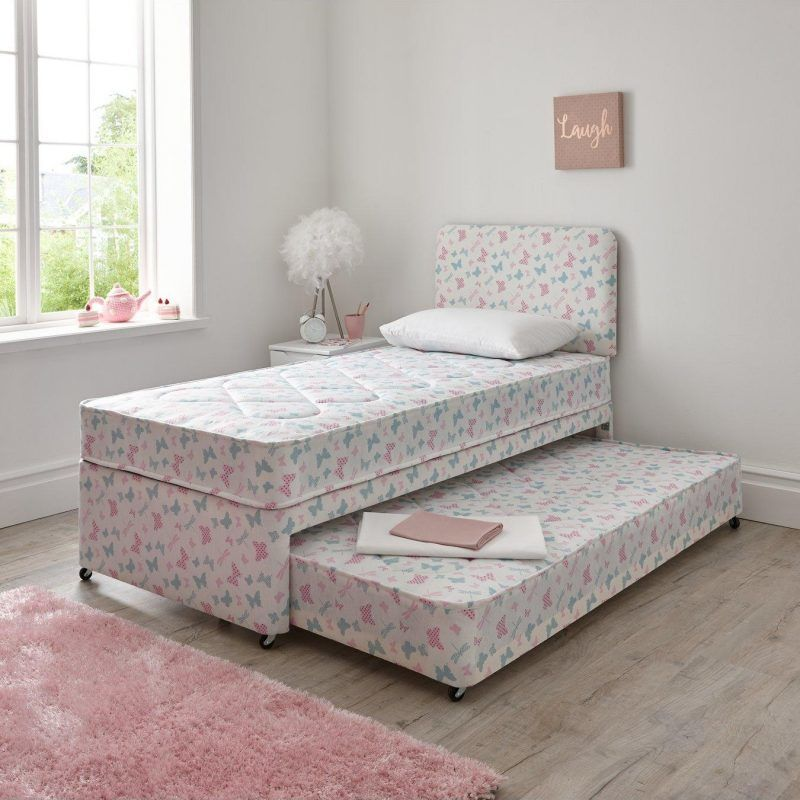 Divan bed with pull-out sleepover bed in butterfly print