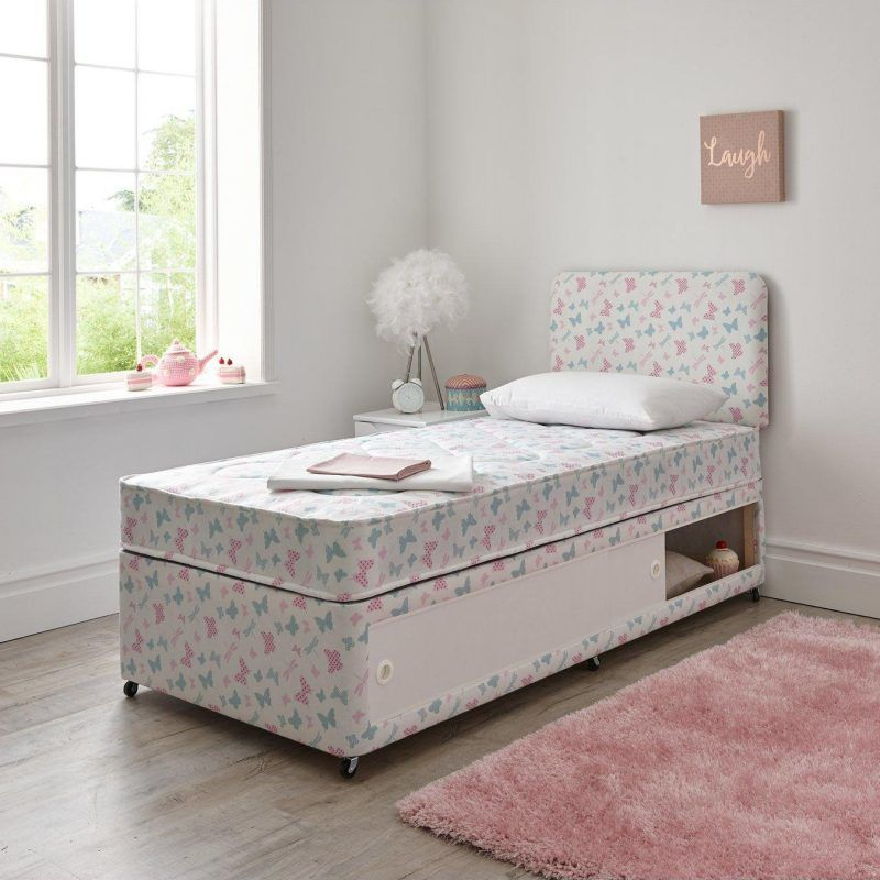 Storage divan with butterfly print