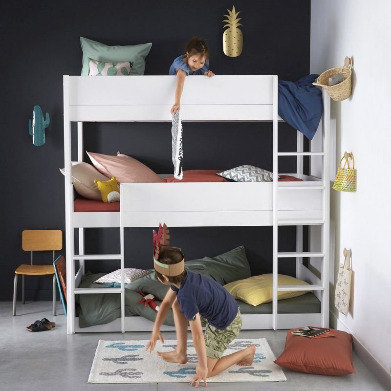 White-painted triple bunk beds