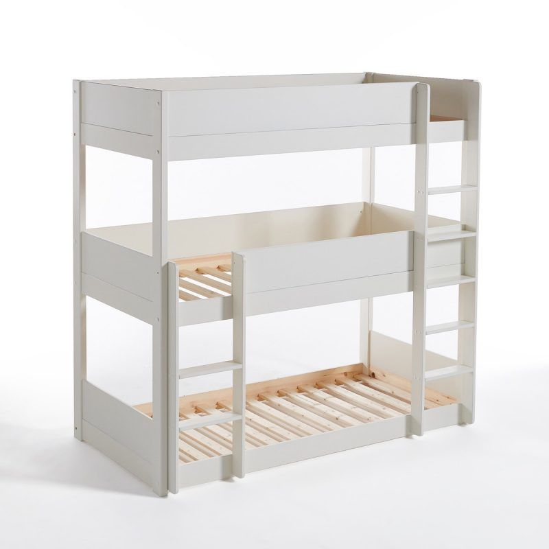 White-painted triple bunk beds with wooden slat bases