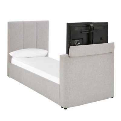Grey upholstered TV bed
