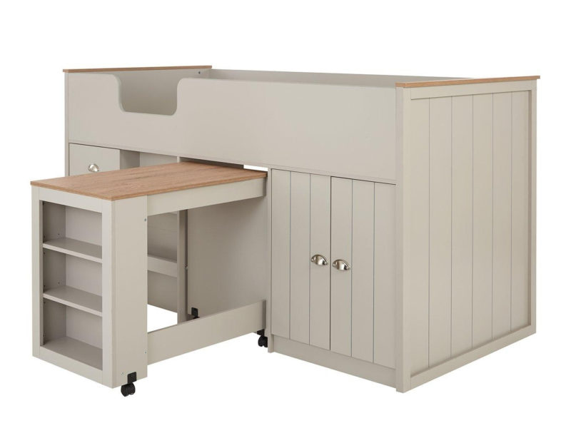 Storage bed with pull-out desk