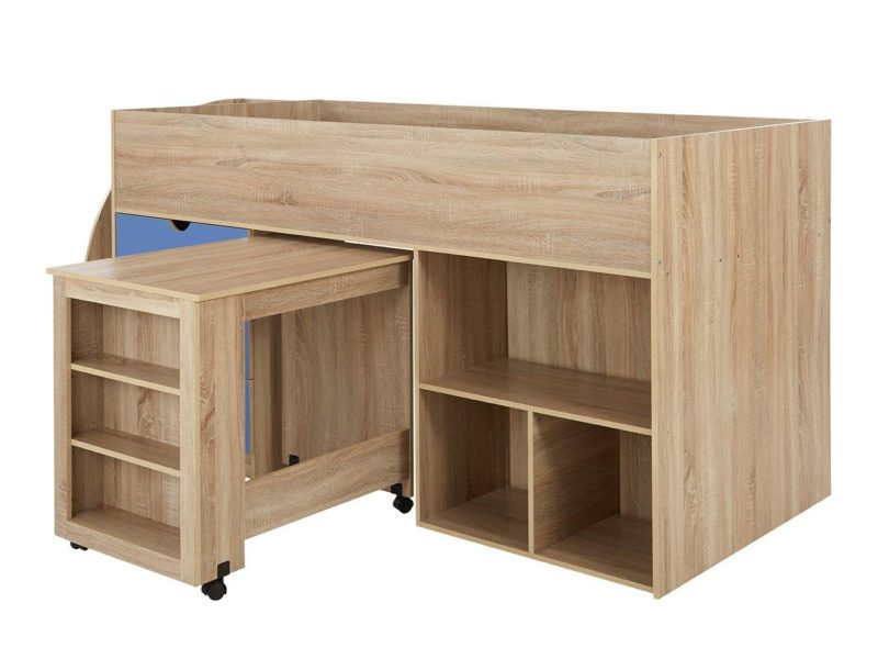 Mid sleeper bed with pull-out desk