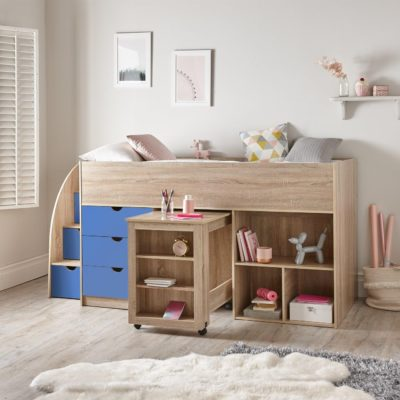 Oak effect mid sleeper with blue drawers