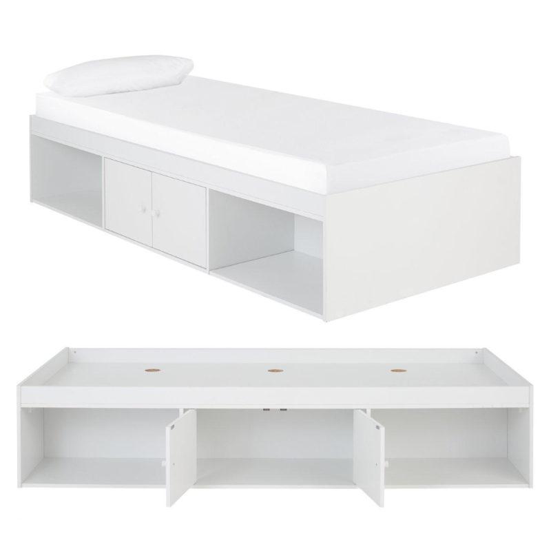 White storage cabin bed