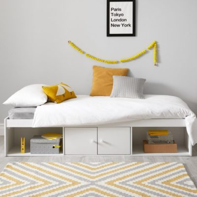 White cabin bed with storage base