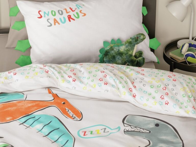 Sleeping dinosaur themed bedding set