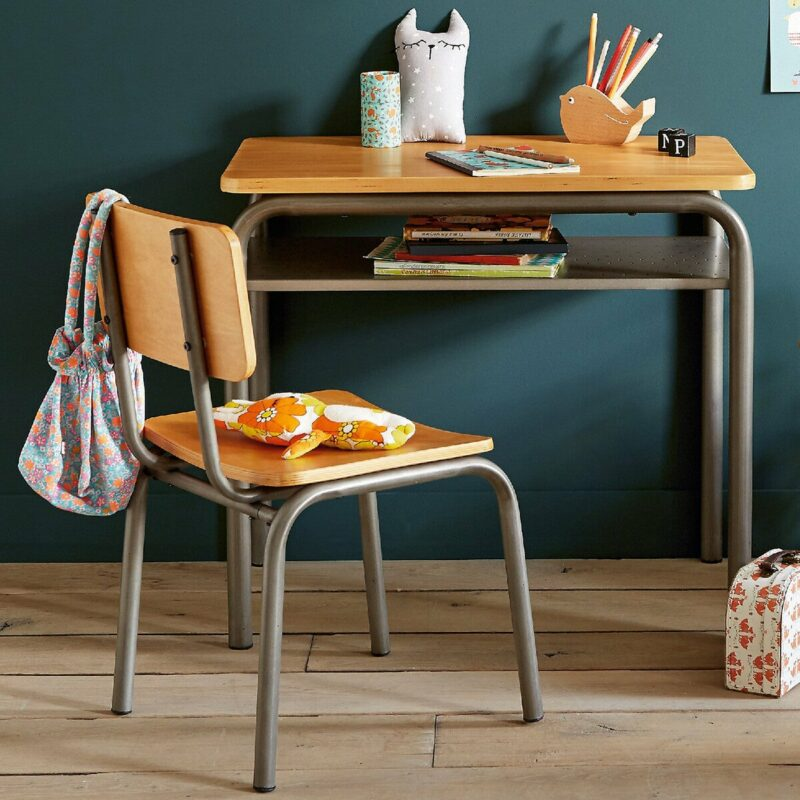 Vintage-style school desk with matching chair
