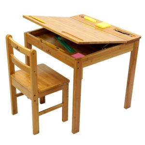 School style desk and chair with large format top