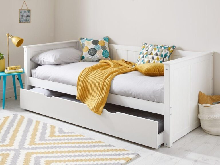 White-painted day bed with guest bed base