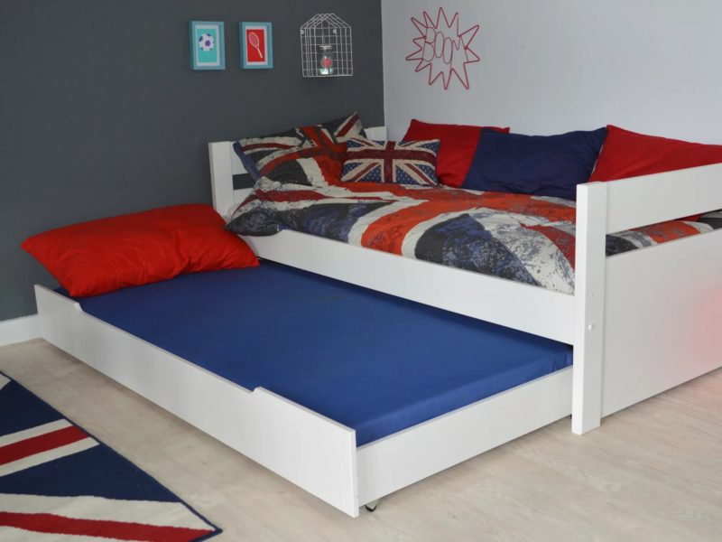 White-painted single bed with trundle guest bed