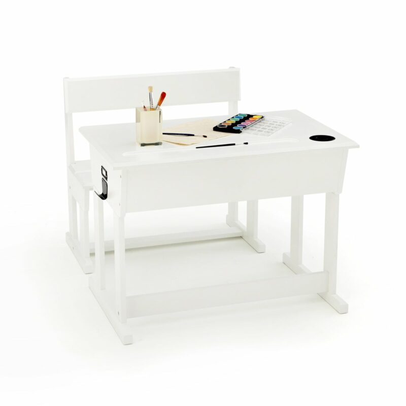 White-painted school desk with bench