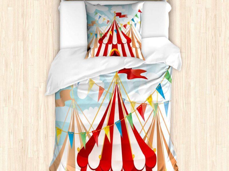 Red/white circuse duvet and pillowcase set