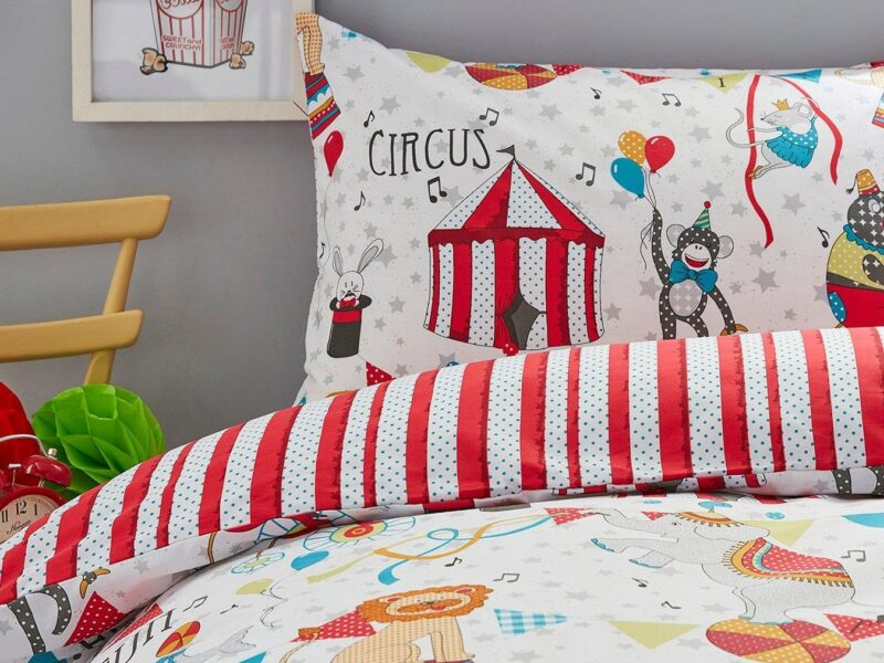 Bold circus themed bedding set
